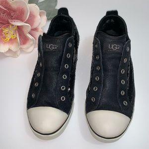 UGG Laela Black Suede Sequin Sneakers Size 10